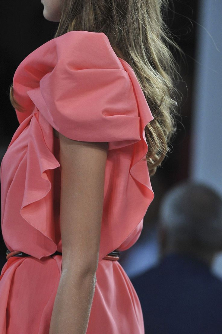 Pink: Fashion Ideas, Pink Dresses, Stylespringsumm Trends, Fashion Detailspart, Puff Sleeve, Fashion Inspiration, Fashion Details Parts, Coral Dresses, Pure Fashion