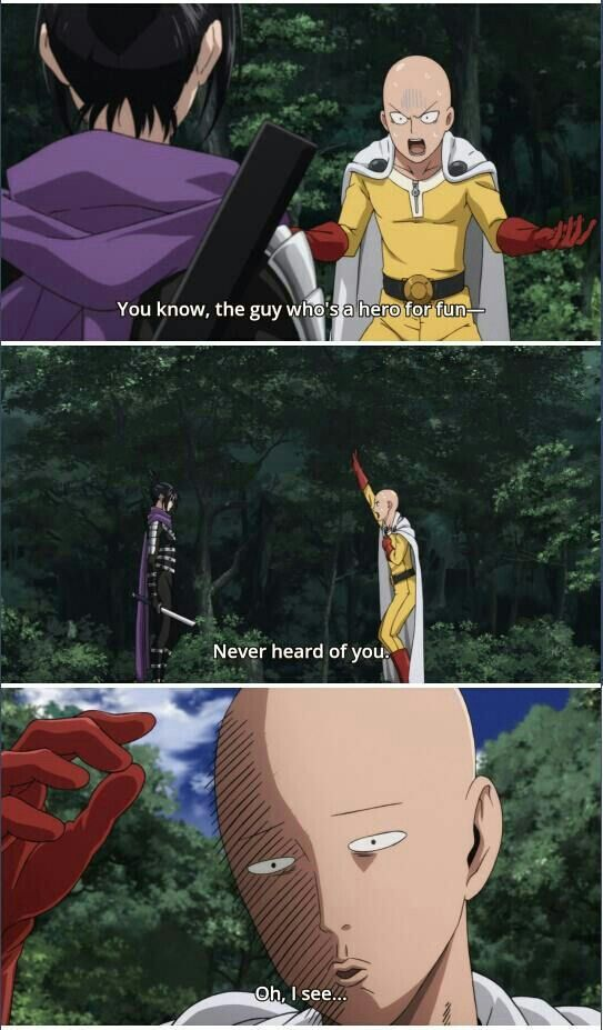 Saitama, Sonic, funny, text, quote, comic; One Punch Man