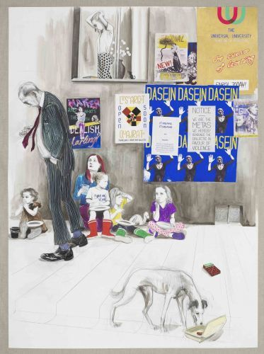 Charles Avery, Untitled (Beggars near the Octagon of the Noumenon) 2013 Pencil, ink, acrylic and gouache on paper mounted on linen 114 x 83,6 cm