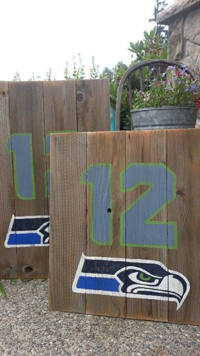 Seahawks wood sign, hand-drawn, and hand-painted on salvaged wood.  Seahawks 12 Seahawks logo 12th Man Superbowl Champions Seattle Seahawks #GoHawks #CityChickenFurniture
