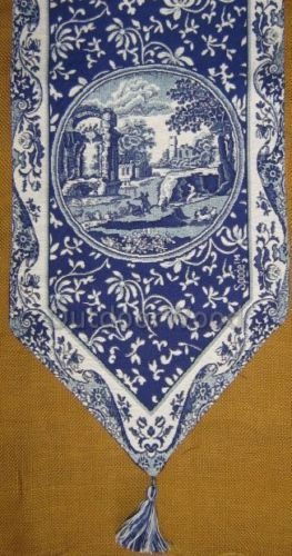 Spode Blue Italian Woven Tapestry Table Runner New