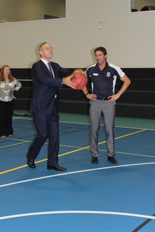 Brian Houston shooting a hoop at the opening of our Sports Centre