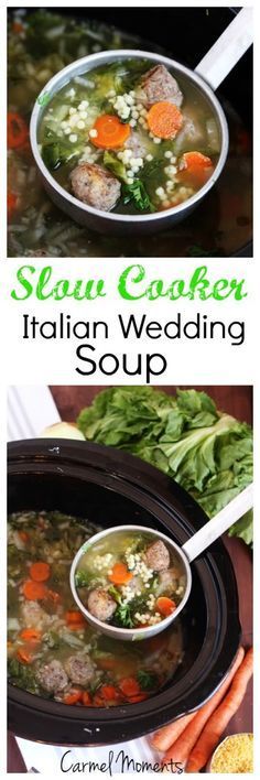 Slow Cooker Italian Wedding Soup - Authentic traditional soup. This recipe is easily made in the crock pot for a delicious homemade meal.