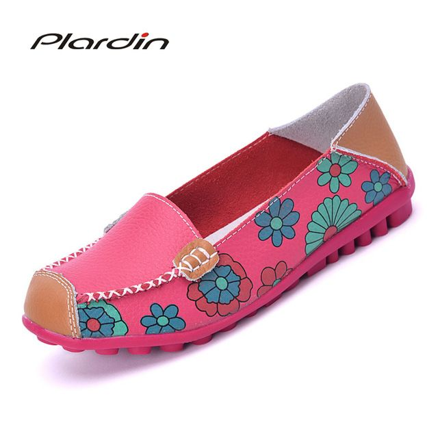 Cut Price $9.59, Buy 2017 Cow Muscle Ballet Summer Flower Print Women Genuine Leather Shoes Woman Flat Flexible Nurse Peas Loafer Flats Appliques