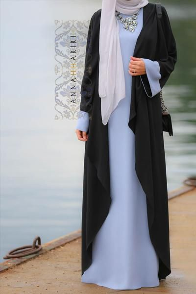 Open front abaya and slip dress stitched together to create a beautiful piece of clothing made of 100% natural fabric which makes this abaya dress great for warm climates.