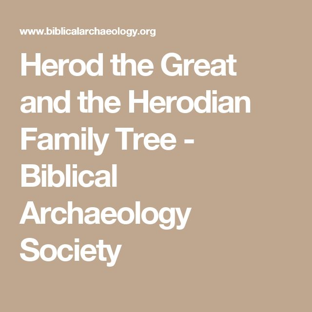 Herod the Great and the Herodian Family Tree - Biblical Archaeology Society