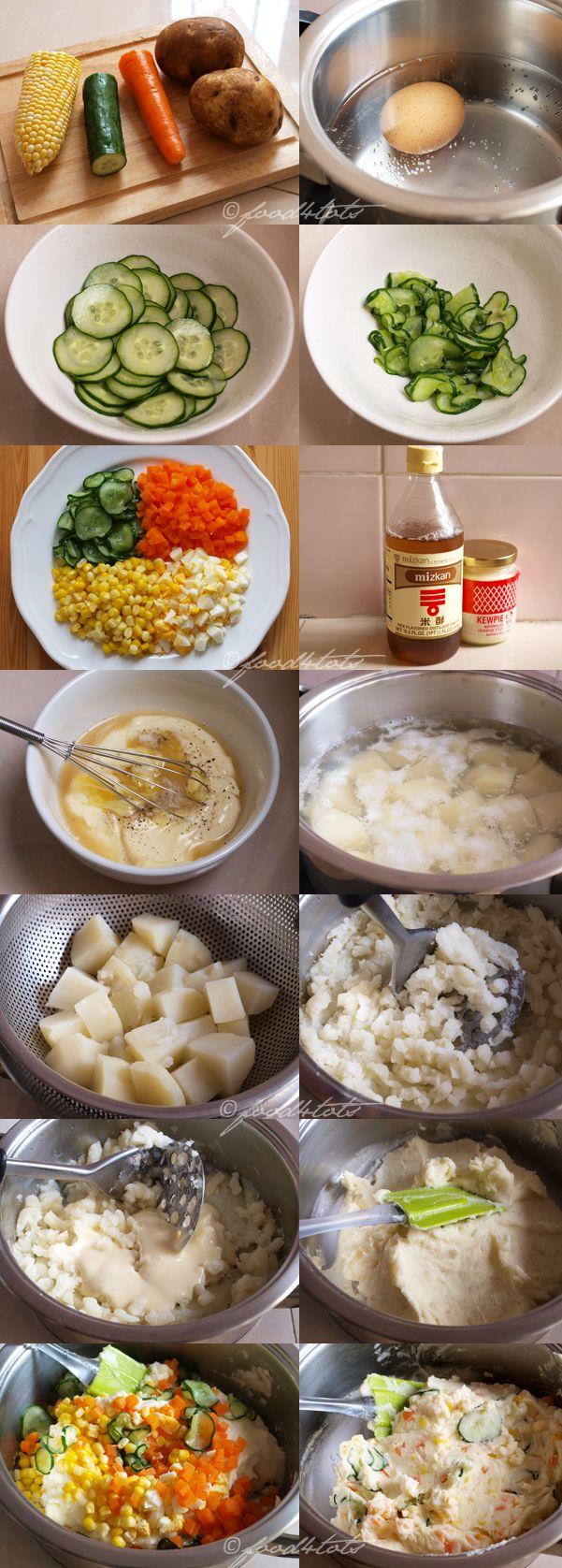 step by step, Japanese salad, potato salad, kid, toddler, vegetarian, food for tots