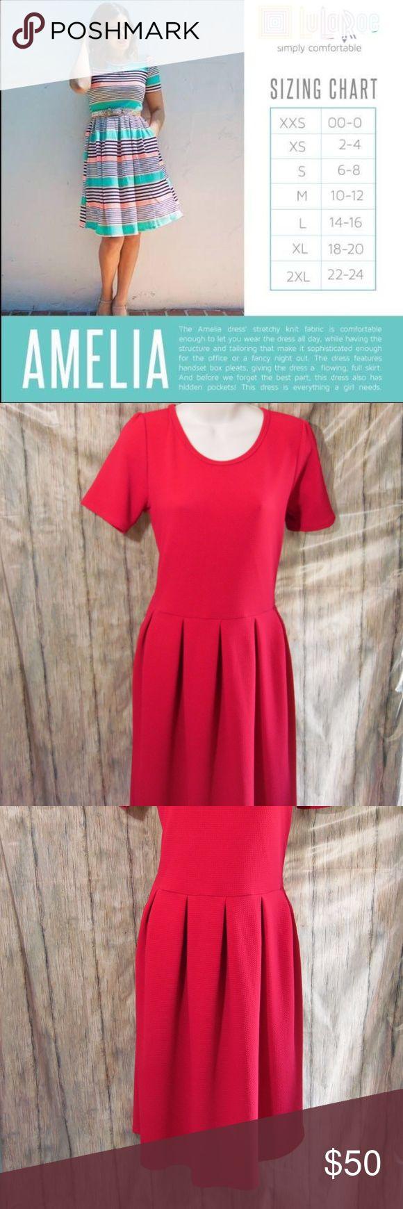 Lularoe Amelia Dress Textured in Magenta/Pink EUC No flaws Zipper works flawlessly LuLaRoe Dresses Midi