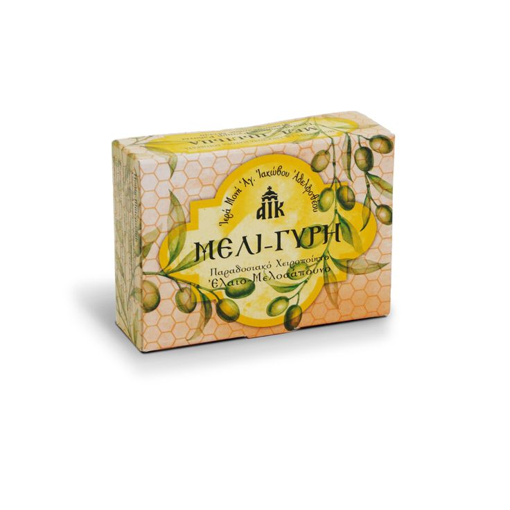 Olive Oil and Honey Soap with pollen. Healing, antimicrobial, disinfectant and anti dandruff. It regenerates and maintains the elasticity of the cells without leaving residues. A genuine monastic product made from the workshop of the Holy Monastery of Saint James the Just-Greece / Ελαιομελοσάπουνο μέλι-γύρη με απολυμαντική δράση, κατάλληλο για ακμή. Είναι εξαιρετικά επουλωτικό. Φτιάχνεται στην Ιερά Μονή Αγίου Ιακώβου Αδελφοθέου.