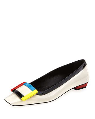 Belle Vivier Colorblock Buckle Flat, Multi by Roger Vivier at Neiman Marcus.