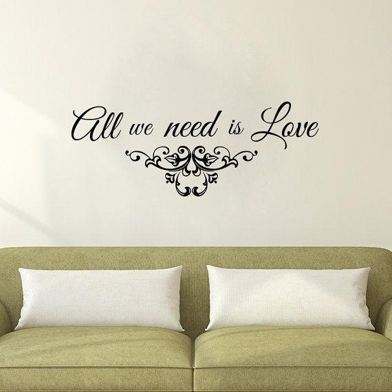 Wall decals quote all we need is love decal vinyl sticker nursery bedroom home decor wedding salon room decor art murals