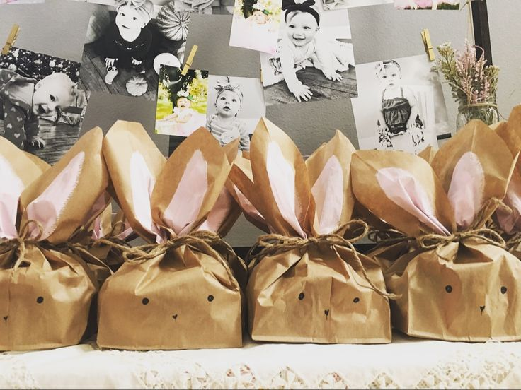 Some bunny is turning one. First birthday party. Bunny gift bags. Bunny goody bags. Shabby chic. Little girl party. Thank you bunny bags.