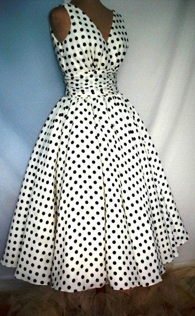 Polka dot cocktail dress with 50s inspired design in cotton custom. $255.00, via Etsy.