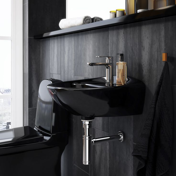 Tvättställ (>50 cm bredd) Estetic. Svart tvättställ med organisk design.