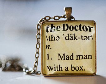 """Doctor Who Inspired Pendant Necklace - Dictionary Definition of the Doctor - """"Mad Man with a Box"""" - Doctor Who Jewelry"""