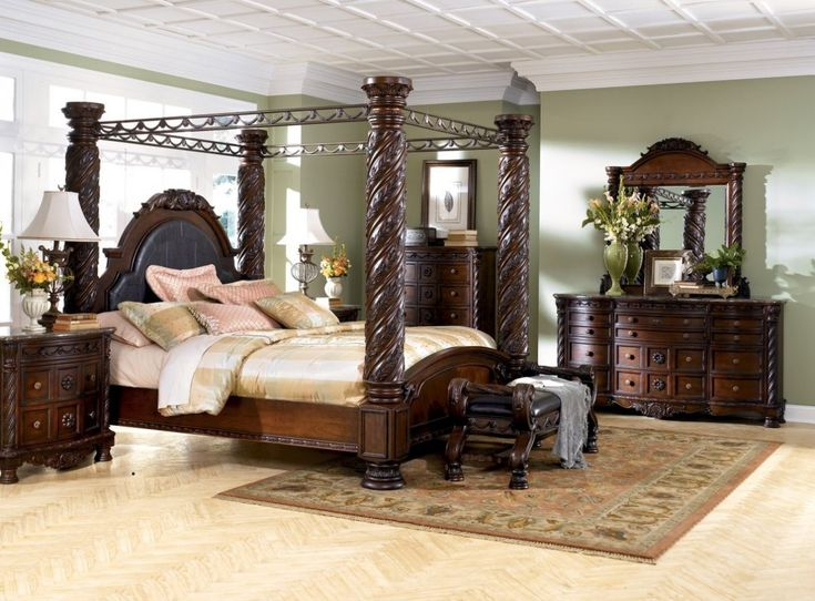 Mid Century King Size Bedroom Sets With 4 Big Pillars Curved Dark Brown  Wooden Bed, Antique Large Size Curved Wooden Dresser, And Multifunction  Drawer Chest