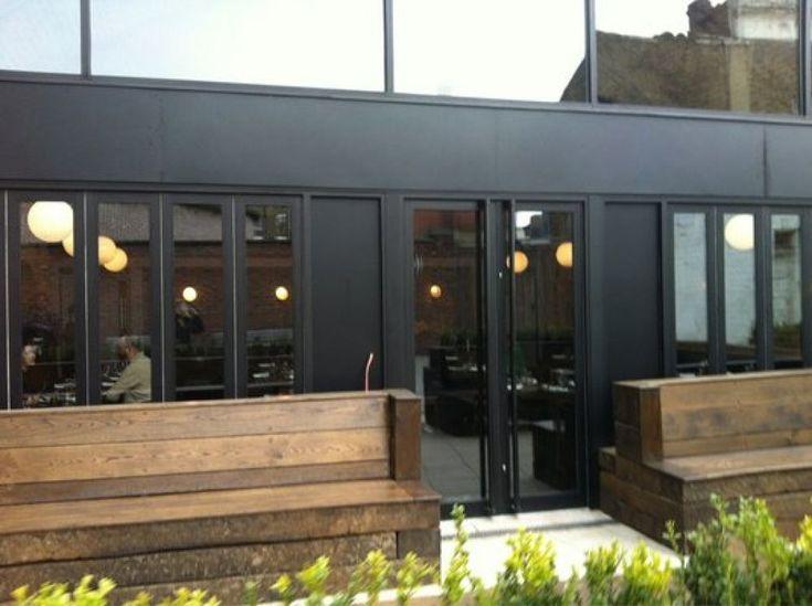 Beagle London Restaurant railway sleepers planters