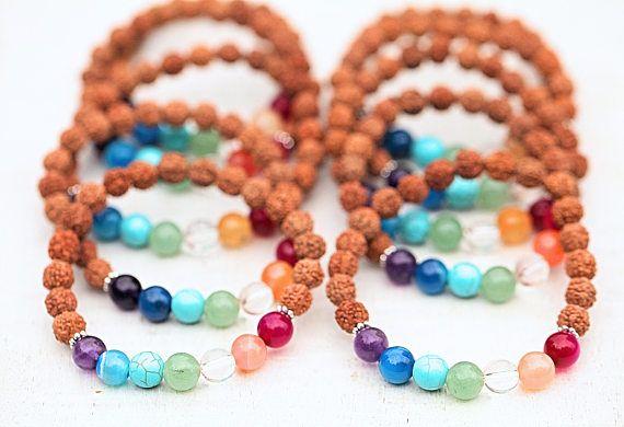 Wholesale Rudraksha bracelet Chakra Rainbow silver AG 925