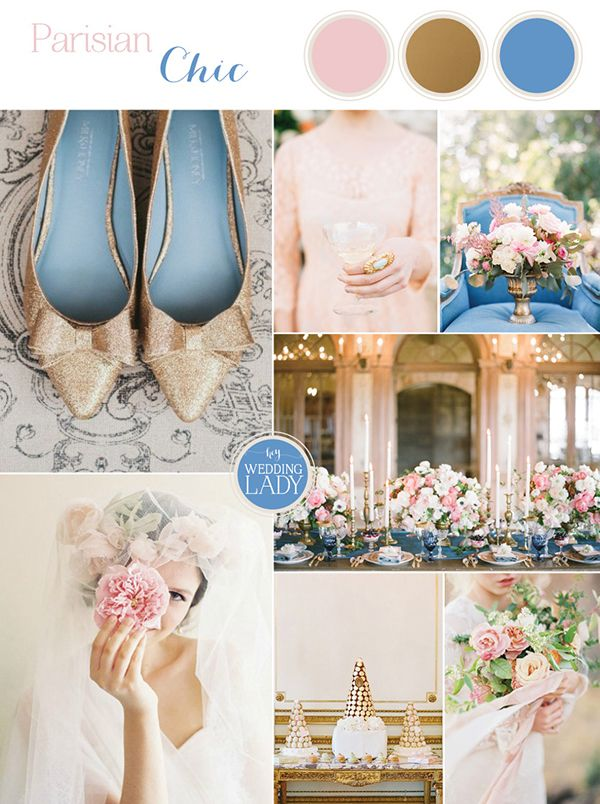 Chic Parisian Wedding in French Blue, Gold Glitter, and Blush