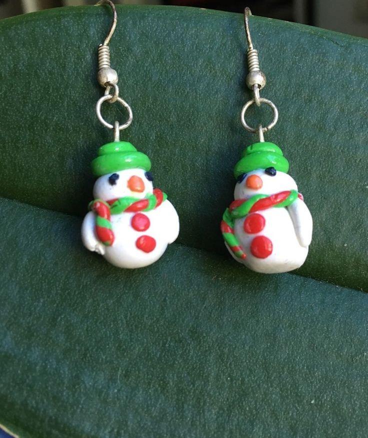 Hand Handmade Christmas Snowman Polymer Clay Earrings Holiday Gift #Handmade