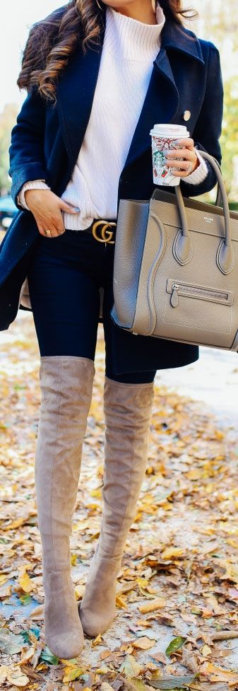 Over the knee boots and Gucci belt w/celine bag -  #fashionblogger #winteriscoming  #winterfashion