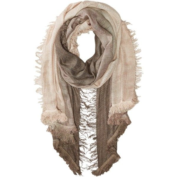 Vince Camuto Magic Carpet Fringe Wrap (Pine Bark) Scarves ($26) ❤ liked on Polyvore featuring accessories, scarves, brown, brown shawl, brown scarves, vince camuto, viscose scarves and vince camuto scarves
