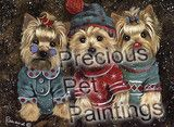 Yorkshire Terrier Elves- garden flags, large house flags, greeting cards, and canvas print