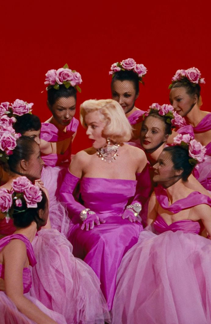 "Marilyn Monroe performing ""Diamonds are a girl's best friend,"" in the film Gentlemen Prefer Blondes (1953)"