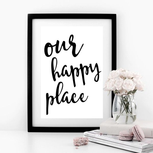 Our Happy Place Typographic Print