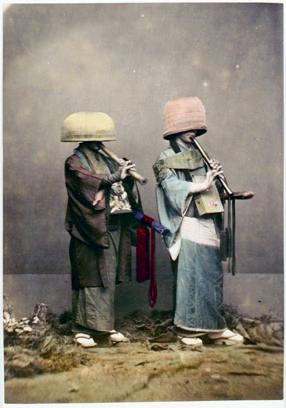 """A komusō (虚無僧) was a Japanese monk during the Edo period. Komusō were characterised by the straw basket (tengai) worn on the head, manifesting the absence of specific ego. They are also known for playing solo pieces on the shakuhachi flute. The Japanese government introduced reforms after the Edo period, abolishing the sect. Komusō means ""priest of nothingness"" or ""monk of emptiness""""    - Wikipedia"