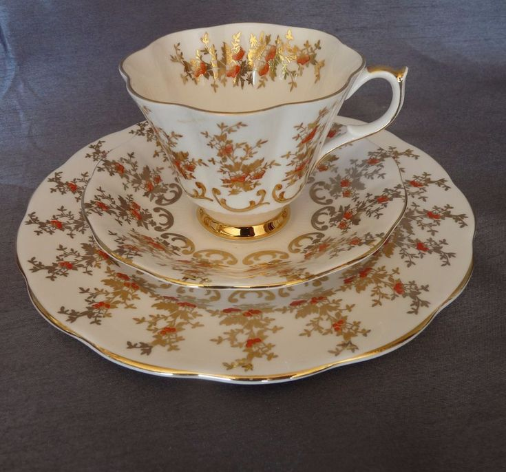 Queen Anne Bone China Floral Tea Trio Set - Teacup, Saucer, Plate , Pattern #167 Orange Flowers & Gold - English Bone China Tea Cup, Saucer, Plate