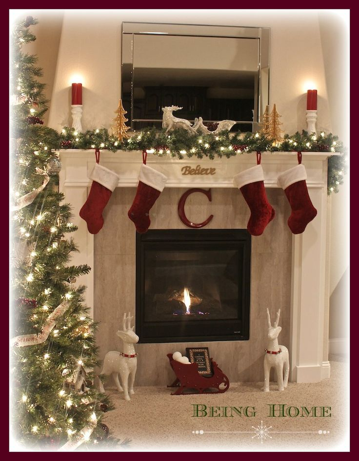 Christmas Fireplace Mantel with Tree - Night