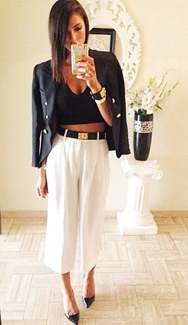 Fashion Forward : black crop, off the shoulder blazer, white loose pants, and gold details