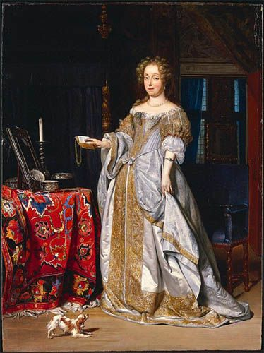 """""""Portrait of a Lady"""", 1667, by Gabriël Metsu (Dutch, 1629-1667). Dating to the last year of Metsu's tragically short life, this exquisitely preserved panel reveals the elegant and ornate style that he was developing in response to trends in contemporary Dutch portraiture at mid-century. Although unidentified, the sitter was a woman of status and wealth as evidenced by the opulence of her dress and furnishings."""