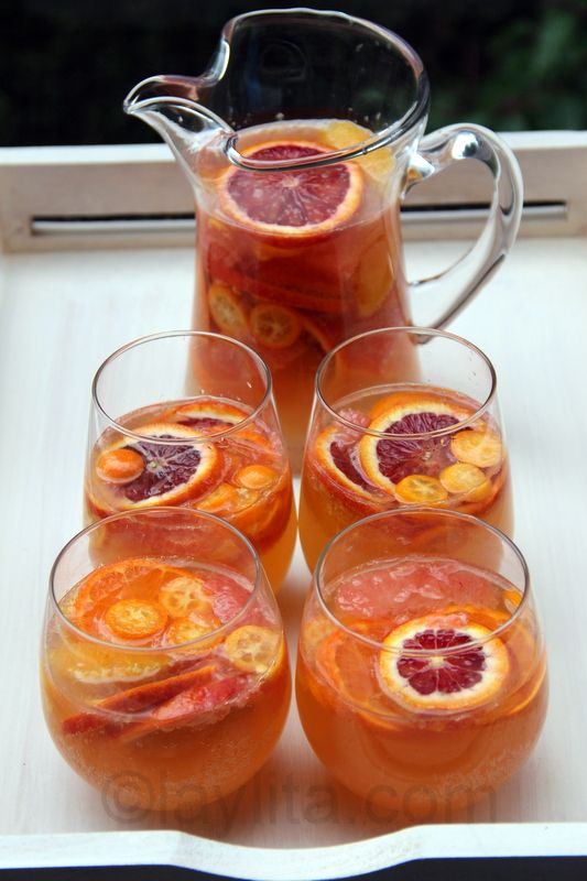 """Citrus Moscato Sangria..."" This delicious and refreshing citrus moscato sangria recipe is made with a variety of citrus fruits, honey, orange liqueur and moscato wine. A perfectly refreshing summer party drink.!"