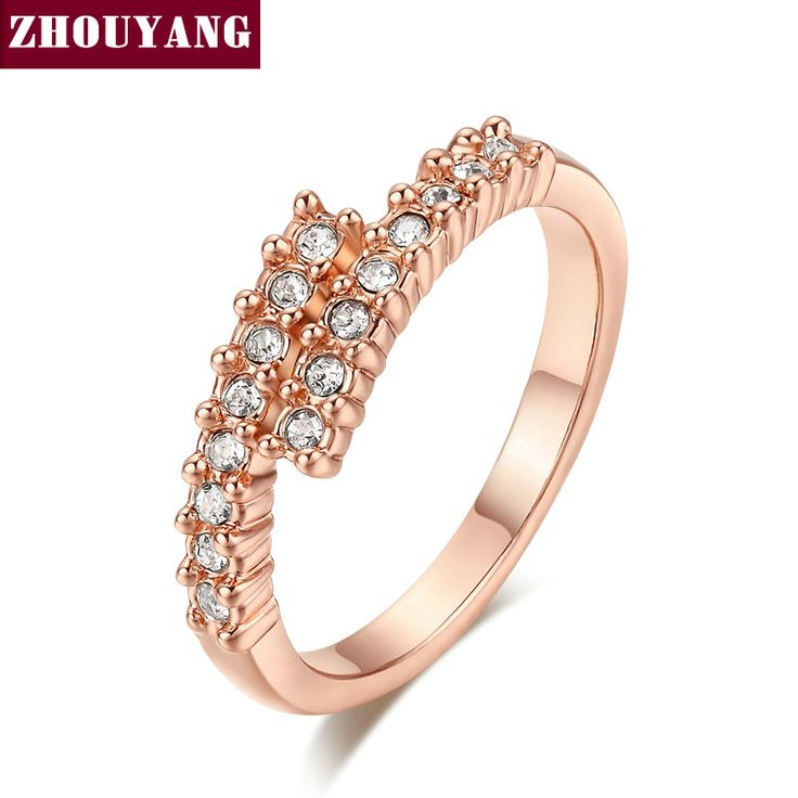 Top Quality ZYR176 Concise Crystal Ring  Champagne Gold Plated  Austrian Crystals Full Sizes Wholesale