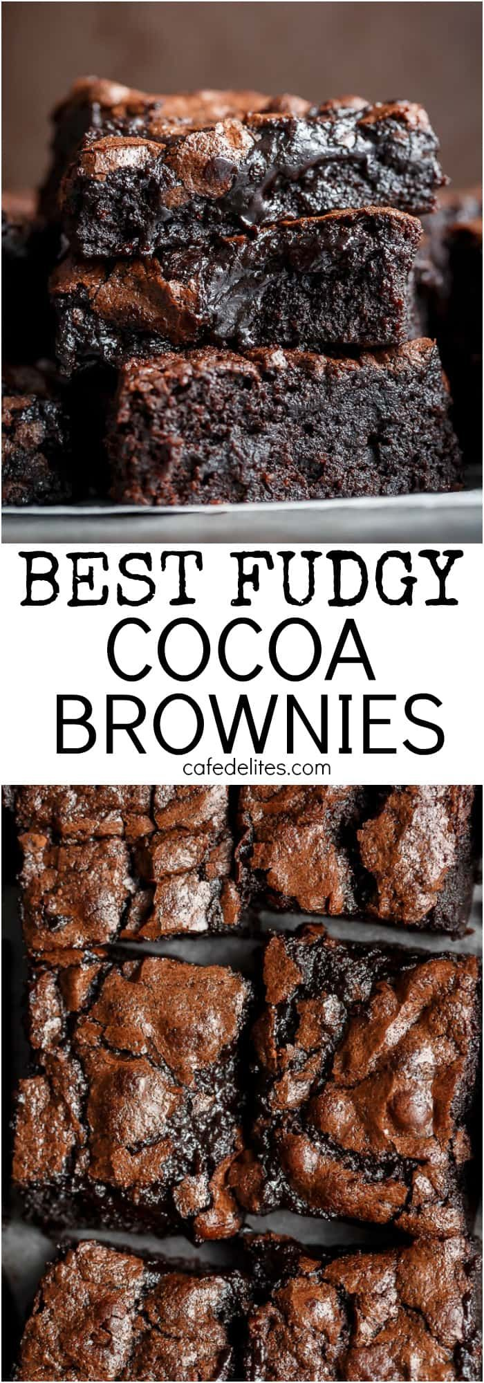 The Best, Fudgy ONE BOWL Cocoa Brownies! A special addition gives these brownies a super fudgy centre without losing that crispy, crackly top! | https://cafedelites.com