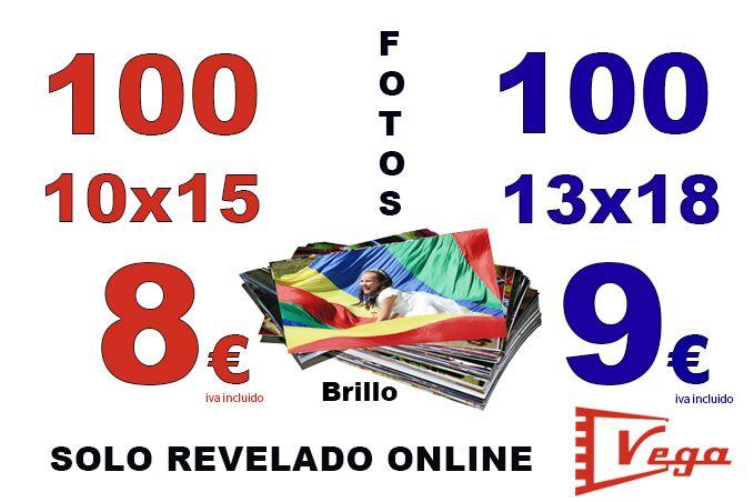 Revelado de 100 fotos por 8 euros en tamaño 10x15 o 9 euros en 13x18. No pierdas la oportunidad!