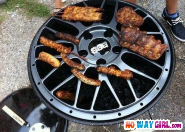 just grilling ribs on my car rims nowaygirlcom