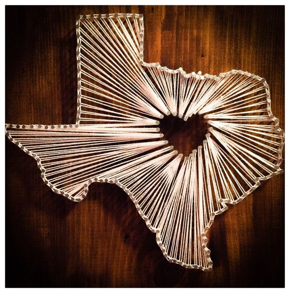 Texas Nail String Art Decor by NataliesRusticJunk on Etsy