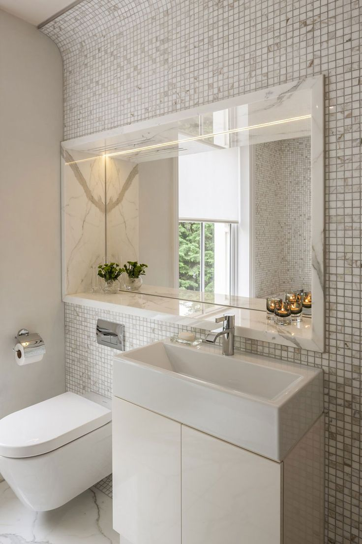 marble mosaic tile walls with a built-in niche, marble ...
