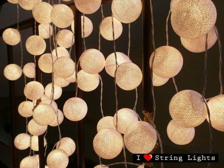 35 White Cotton Ball Set String Lights For Wedding and House decoration (35 balls/Set). $17.89, via Etsy.