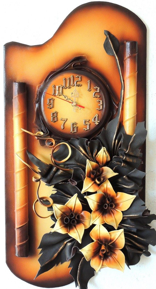 Unique 3D Leather Art Orange Lilies with Clock Size: 38cm x 70cm Color: Light…