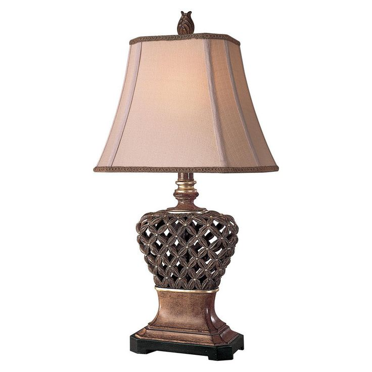 """View the Ambience AM 10835 1 Light 32"""" Height Table Lamp with Cream Pyramid Shade at LightingDirect.com."""