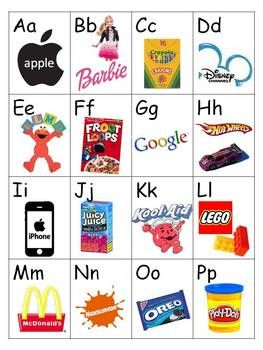 This is your typical alphabet sound chart, but the pictures are brand logos that are more recognizable by kids (i.e., m-McDonalds, d-Disney, etc.)....
