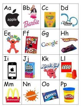 Abecedari fet amb logos que els infants reconeixen.
