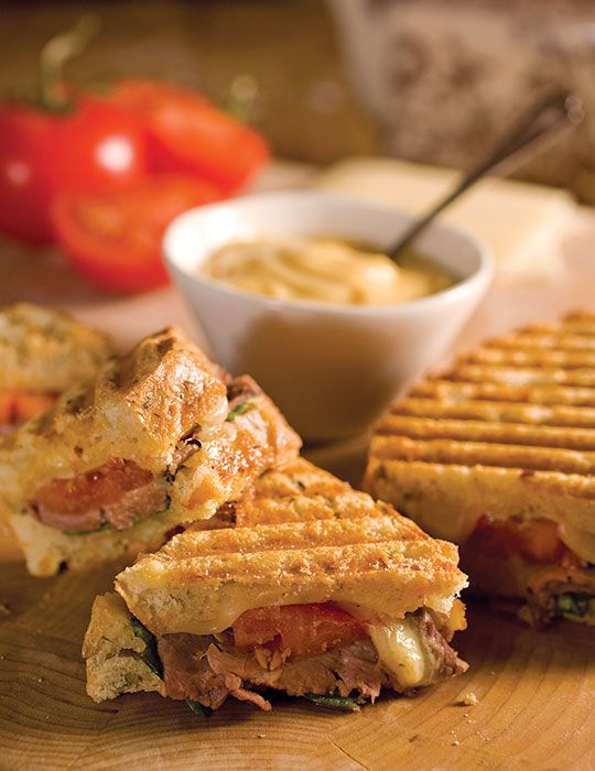 Aïoli infused with lemon myrtle tea adds extra zip to these Roast Beef and Swiss Panini.