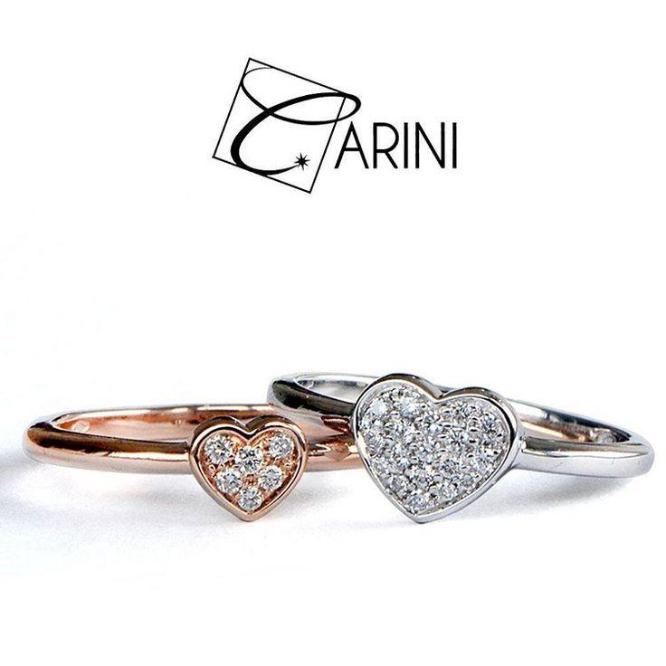 Cuori in oro bianco o rosa con diamanti..eleganti, luminosi e colorati per un look che fa la differenza! #carinigioielli #engagementring #diamondring #ring #fashion #jewelry #bride #jewellery #accessories #instadaily #style #weddings #engaged #girls #fashionable #musthave #lovewins #denim #trends #cool #igers #lovely #cute #details #fashionista #instajewelry #jewelrygram #etsyseller #jewelrydesign #matrimonio