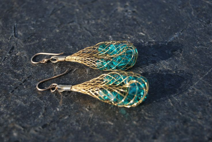 Gold net earrings with emerald crystals by NorthernlightsNO on Etsy