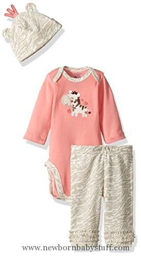 Baby Girl Clothes Gerber Baby 3 Piece Bodysuit, Cap and Legging Set, zebra, 3-6 Months